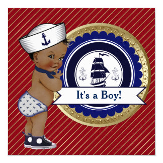 ethnic sailor boy nautical baby shower 13 cm x 13 cm square invitation