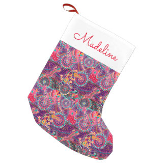 Ethnic Style Animal Pattern | Add Your Name Small Christmas Stocking