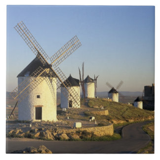 EU, Spain, La Mancha, Consuegra. Windmills and Tile