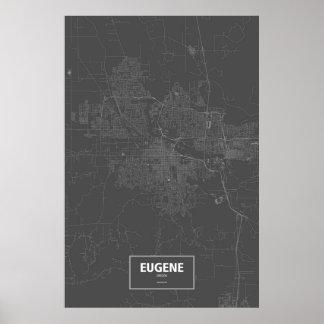 Eugene, Oregon (white on black) Poster