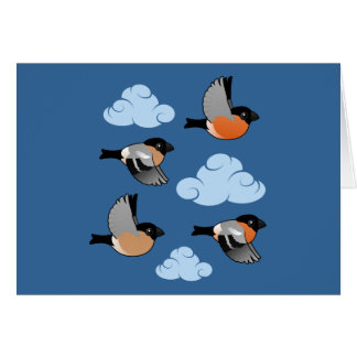 Eurasian Bullfinches in Flight Card