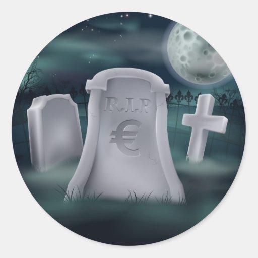 Euro grave concept round sticker