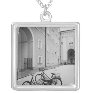 Europe, Austria, Salzburg. Bicycles in the Silver Plated Necklace
