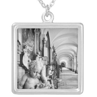 Europe, Austria, Salzburg. Cherub and monument 2 Silver Plated Necklace