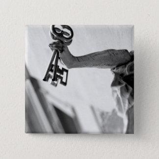 Europe, Austria, Salzburg. Statue with keys 2 15 Cm Square Badge