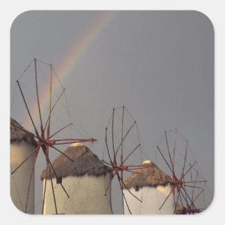 Europe, Greece, Mykonos. wind mill with rainbow Square Sticker