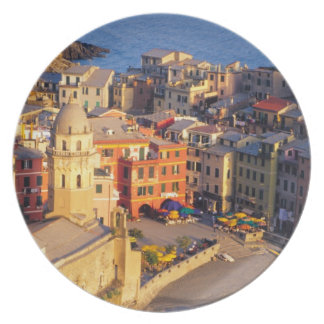 Europe, Italy, Cinque Terre. Village of Vernazza Party Plate
