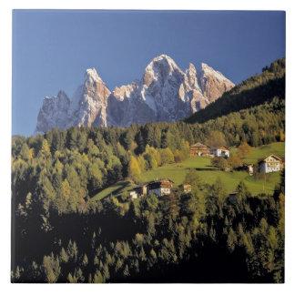 Europe, Italy, San Pietro. The Odle Group seem Tile