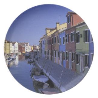 Europe, Italy, Venice, Murano Island, Colorful Dinner Plates