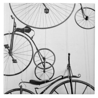 Europe, Switzerland, Lucerne. Bicycle display, Tile