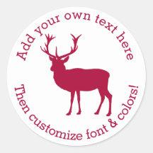 European Red Deer Stag - Stag Party Round Sticker