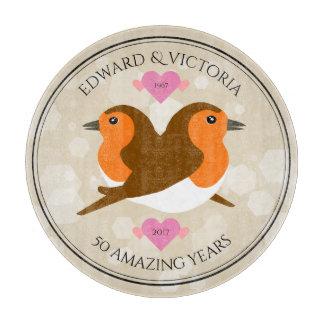 European Robins: 50 Years Wedding Anniversary Cutting Board