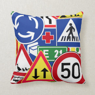 European Traffic Signs Collage Throw Pillow