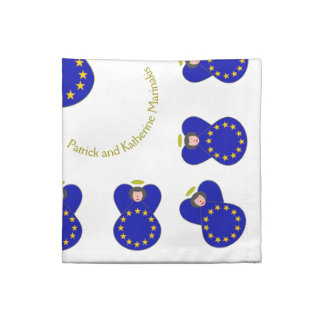 European Union Angel Flag Black Hair Napkin