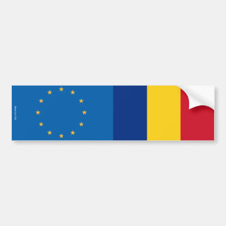 European Union & Romanian Flags Bumper Sticker