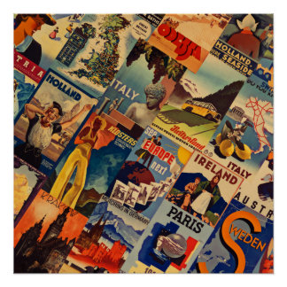 European Vintage Travel posters collage poster