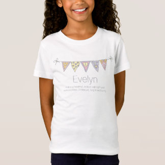 Evelyn girls name meaning bunting flag t-shirt