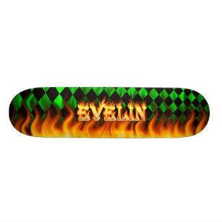 Evelyn skateboard fire and flames design. Hot skat