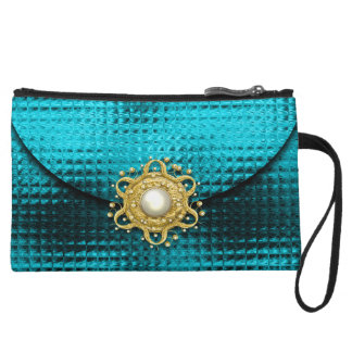 Evening glitter gem aqua gold wristlet purses