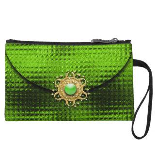 Evening glitter green jewel wristlet