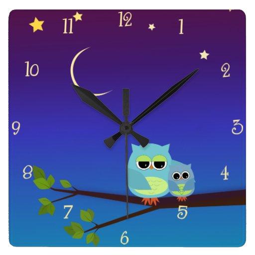 Evening Owls Wall Clock