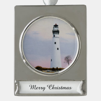 Evening's Lighthouse Silver Plated Banner Ornament