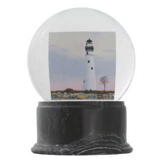 Evening's Lighthouse Snow Globe