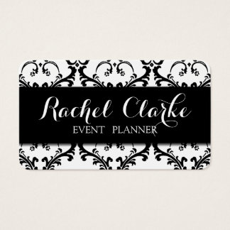 Event Planner Business Card Black Damask