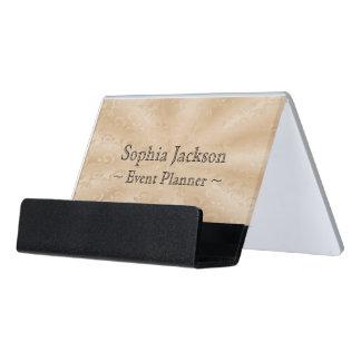 Event Planner Faux Gold Subtle Vines Desk Business Card Holder