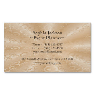 Event Planner Faux Gold Subtle Vines Magnetic Business Cards