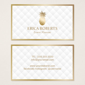 Event Planner Modern Gold Pineapple Luxury White Business Card