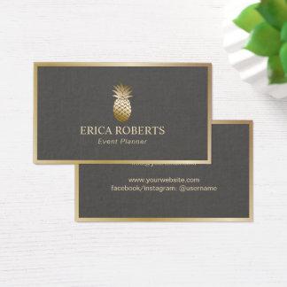 Event Planner Pineapple Modern Foil Gold Frame Business Card