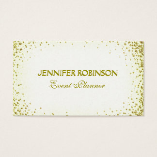 Event Planner White and Gold Confetti Business Card