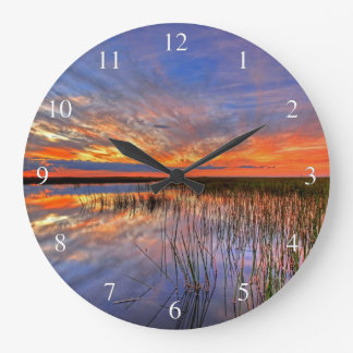 Everglades Sunset Large Clock
