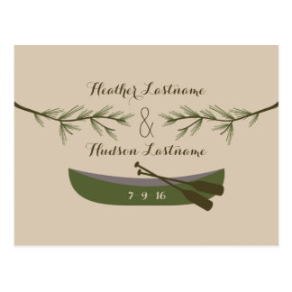 Evergreen Branches + Canoe Rustic Save The Date Postcard