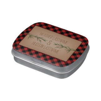 Evergreen Tree Branches Plaid Wedding Jelly Belly Tin
