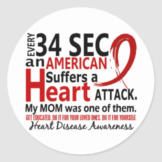 Every 34 Seconds Mom Heart Disease / Attack Classic Round Sticker
