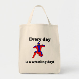 Every Day Is A Wrestling Day Grocery Tote Bag