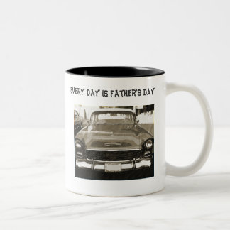 Every Day is Father's Day, 55 Chevy, black & white Two-Tone Coffee Mug