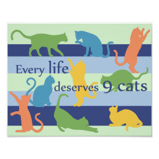 Every Life Deserves 9 Cats Funny Cat Quote Photo Art