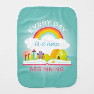 Everyday is a new beginning cute rainbow burp cloth
