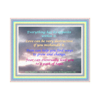 Everything has its opposite within it Quote on Sky Canvas Print