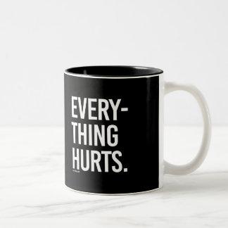 Everything Hurts -   - Gym Humor -.png Two-Tone Coffee Mug