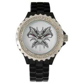 Evil glass butterfly-Rhinestone Watch,Black Enamel Watch