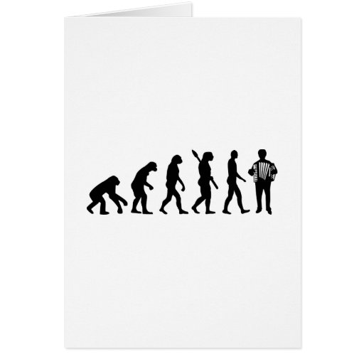 Evolution Accordion player Greeting Cards