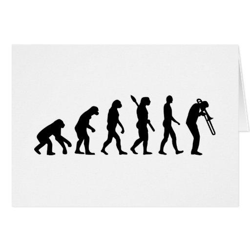 Evolution Trombone Greeting Cards