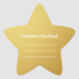 Excellent Adulting Write Your Own Funny Gold Stars Star Sticker