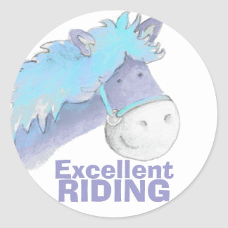 Excellent horse / pony riding blue praise sticker