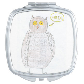 Excited Owl Mirror Compact Mirror