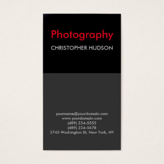 Exclusive Red black Gray Photography Business Card